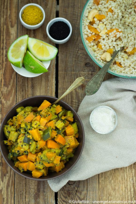curry verdure sorgo latte cocco