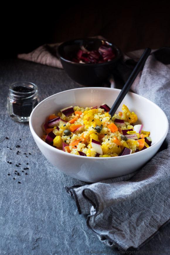 quinoa cavolfiore curcuma nigella carote radicchio