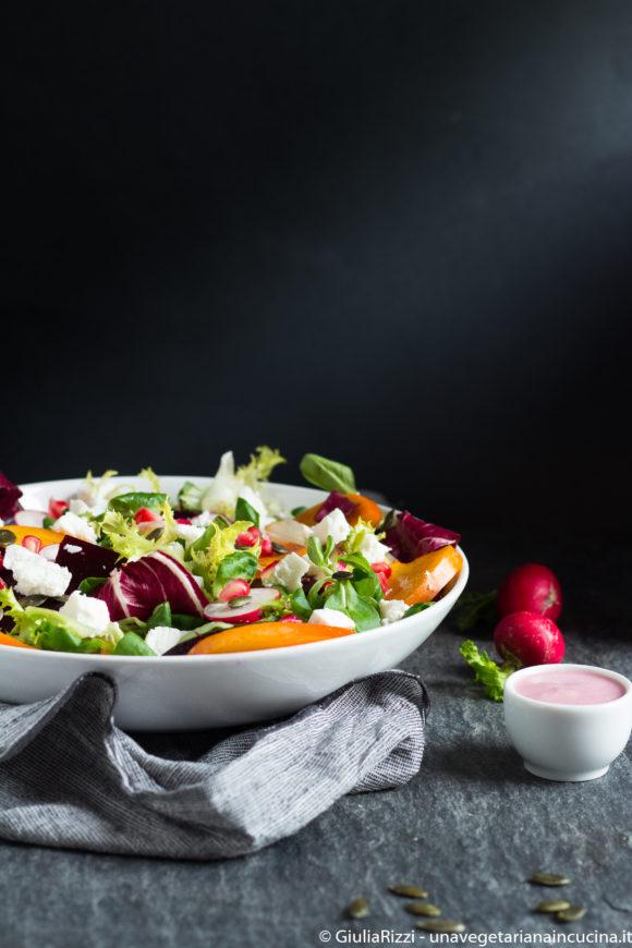 insalata cachi caprino salsa melagrana