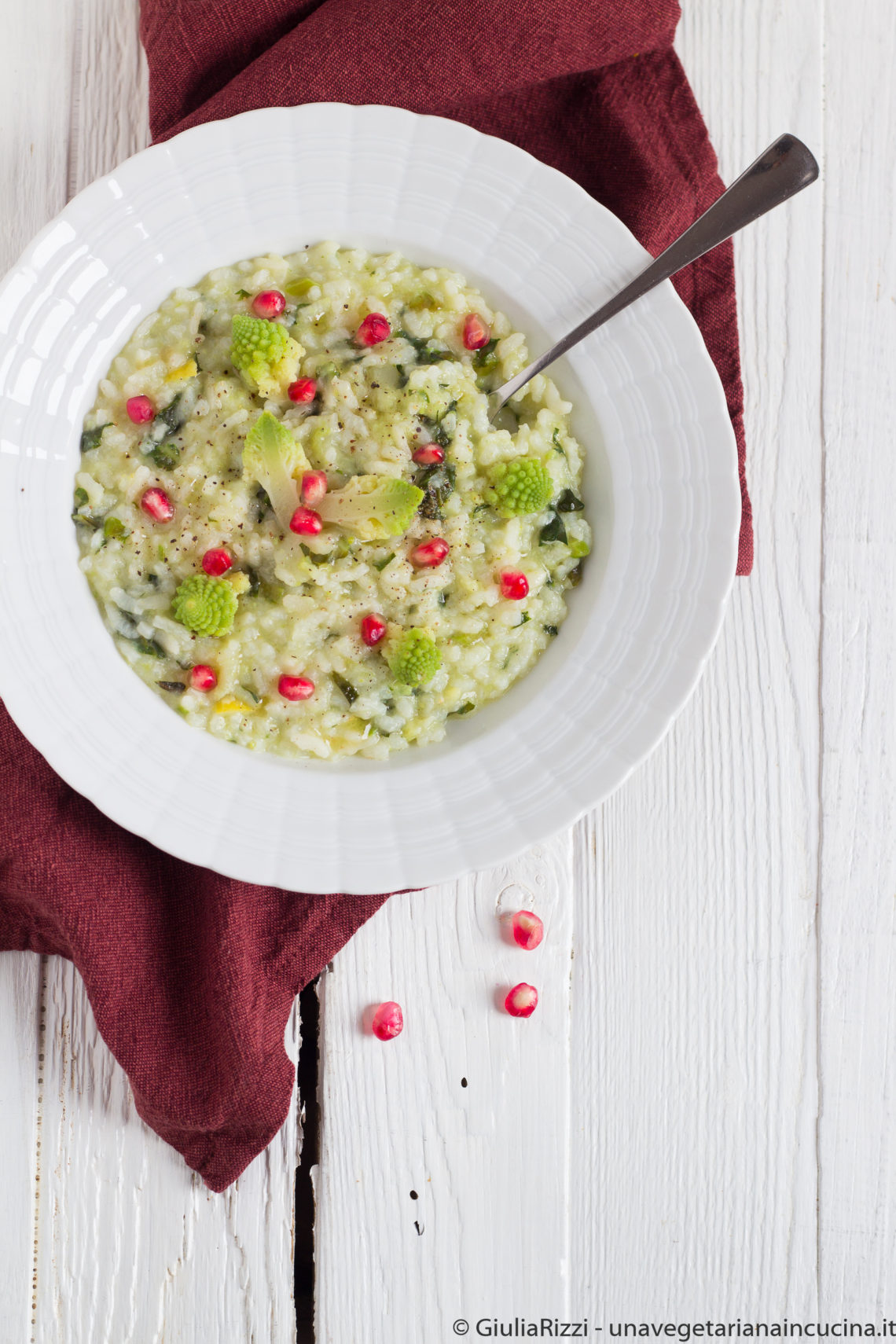 risotto broccolo romanesco melagrana